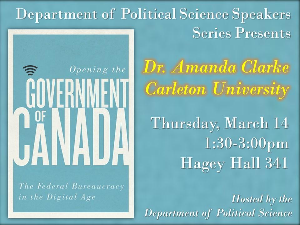Amanda Clarke speaker series poster.