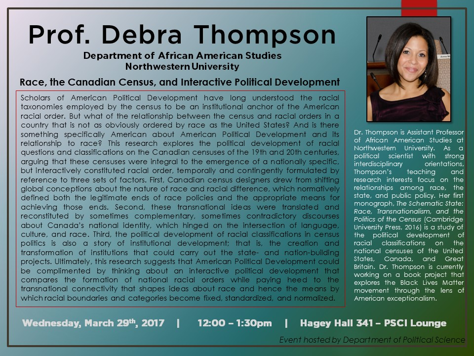 Prof. Thompson talk poster.