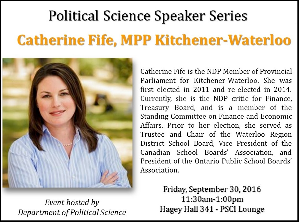 Speaker Series - Catherine Fife promotional poster.