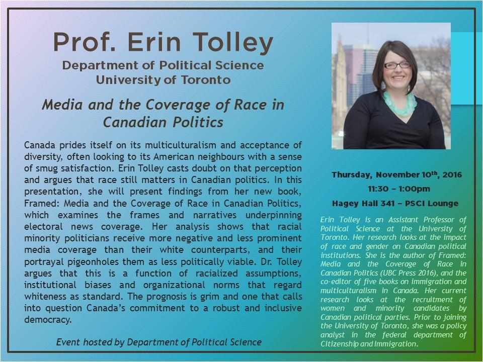 Erin Tolley Speaker Series poster.