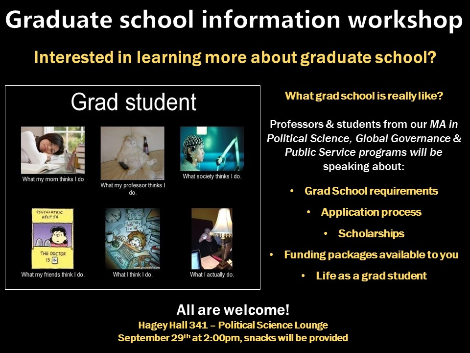 Grad School Info workshop flyer.