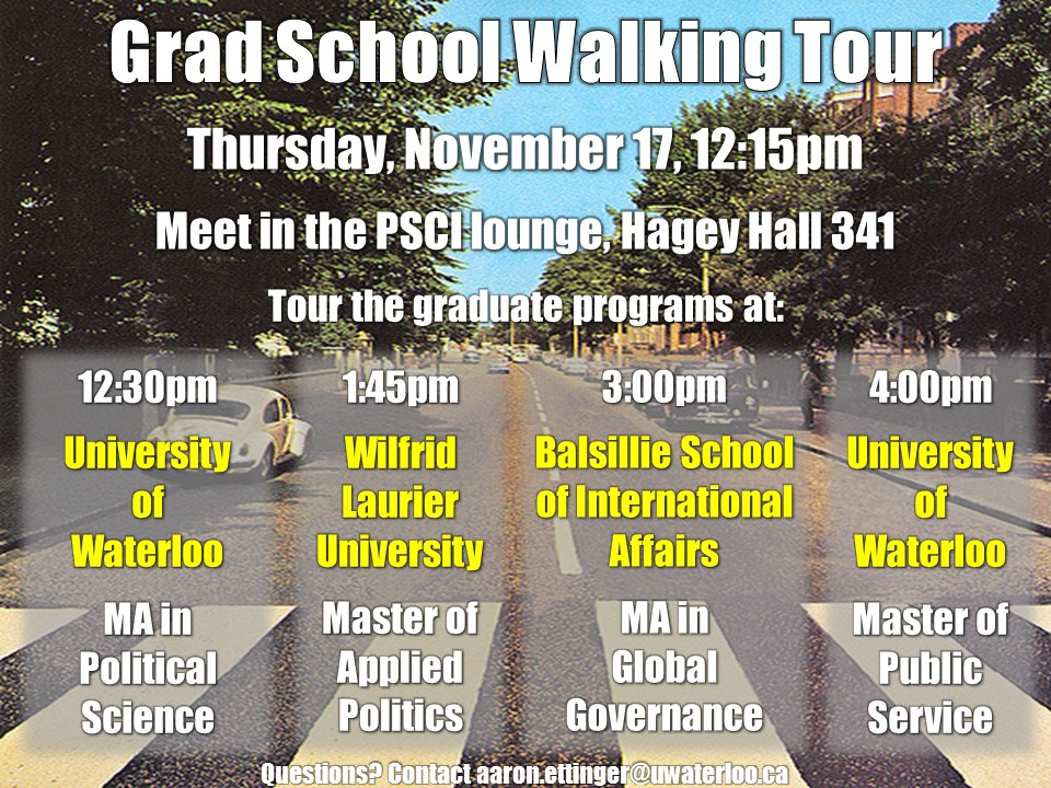 Grad School Walking Tour poster.
