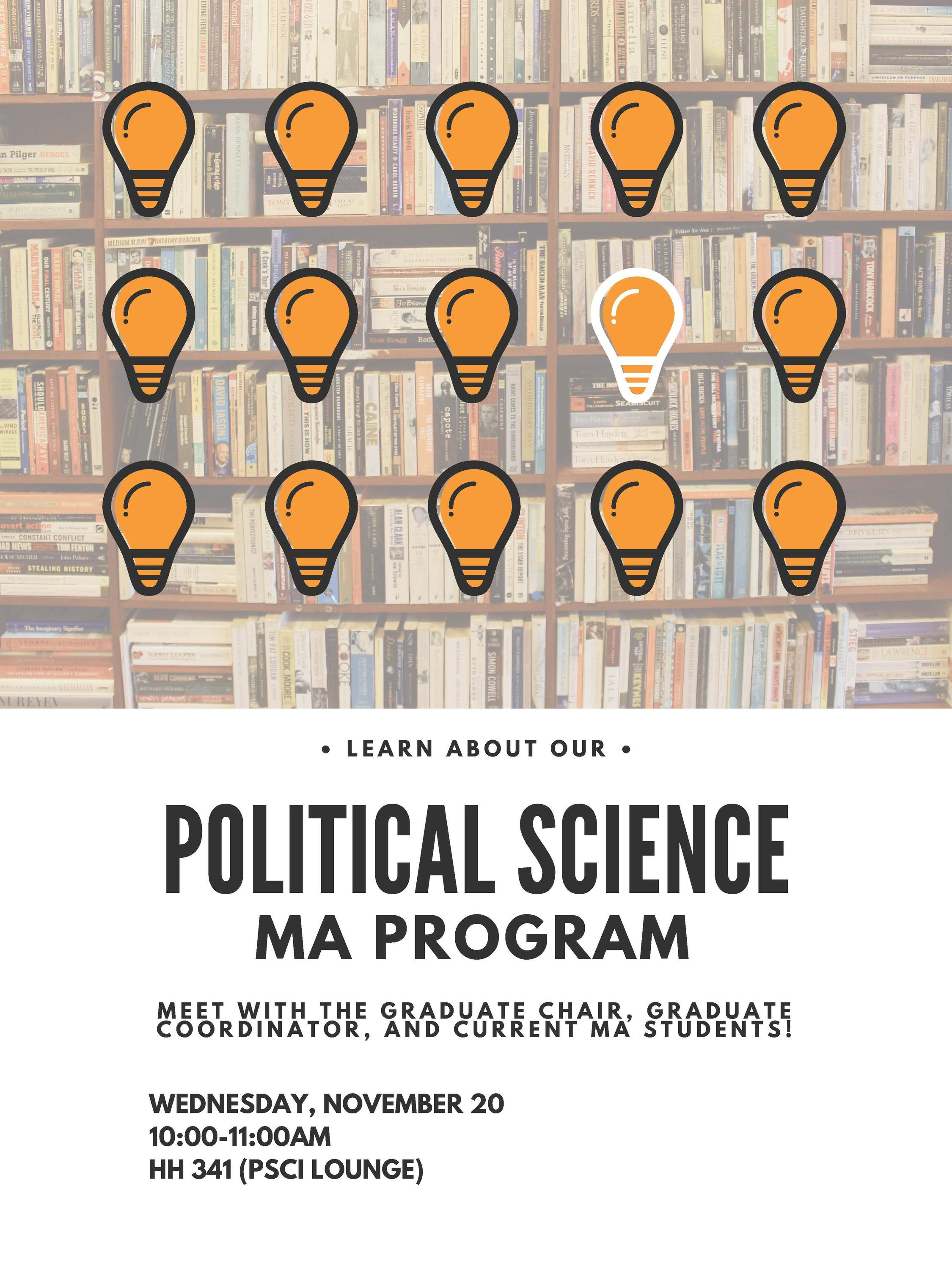 graphic poster advertising MA information session