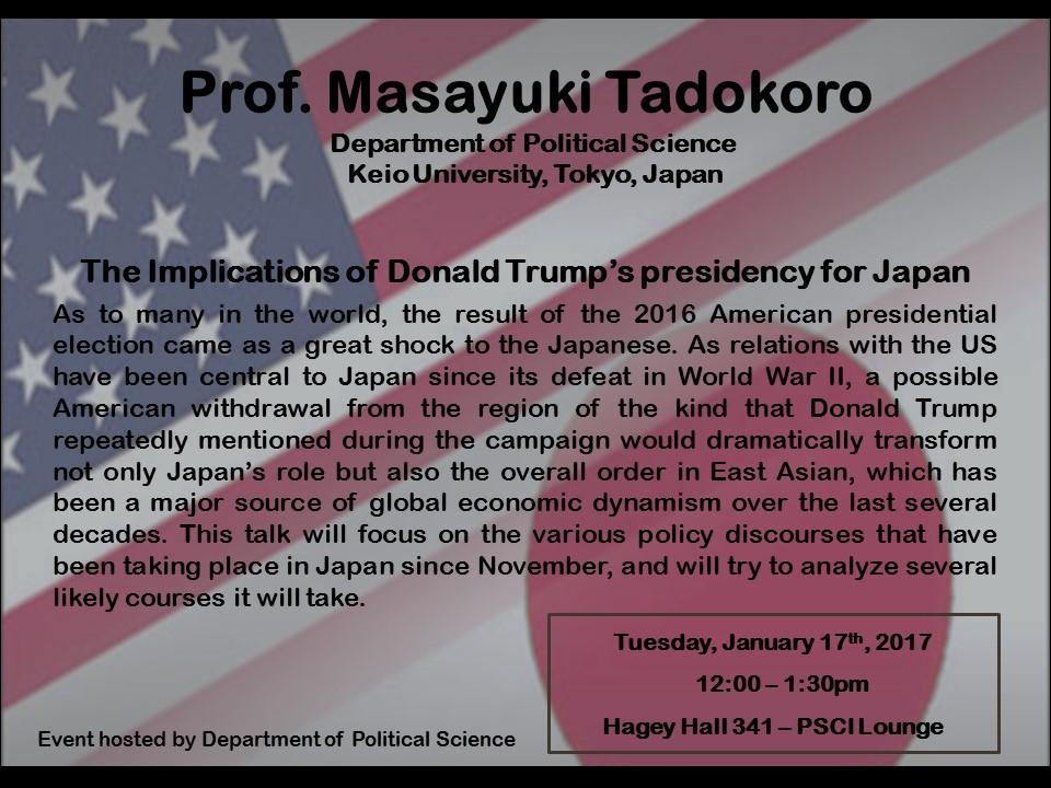 Speaker Series flyer for Prof. Tadokoro