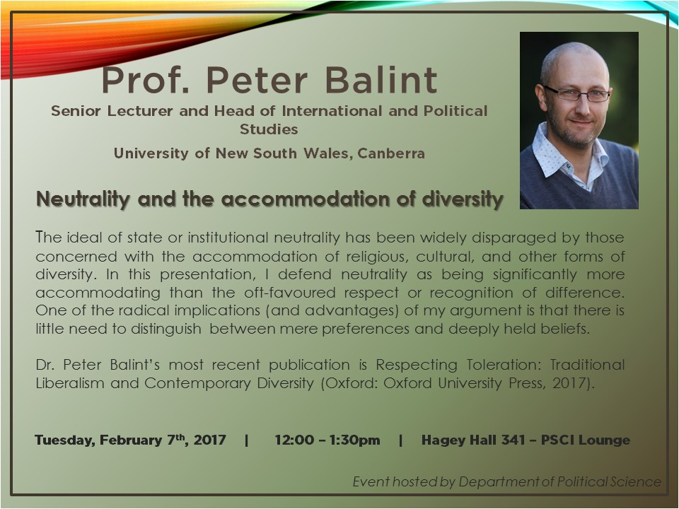Prof. Peter Balint Speaker Series poster.