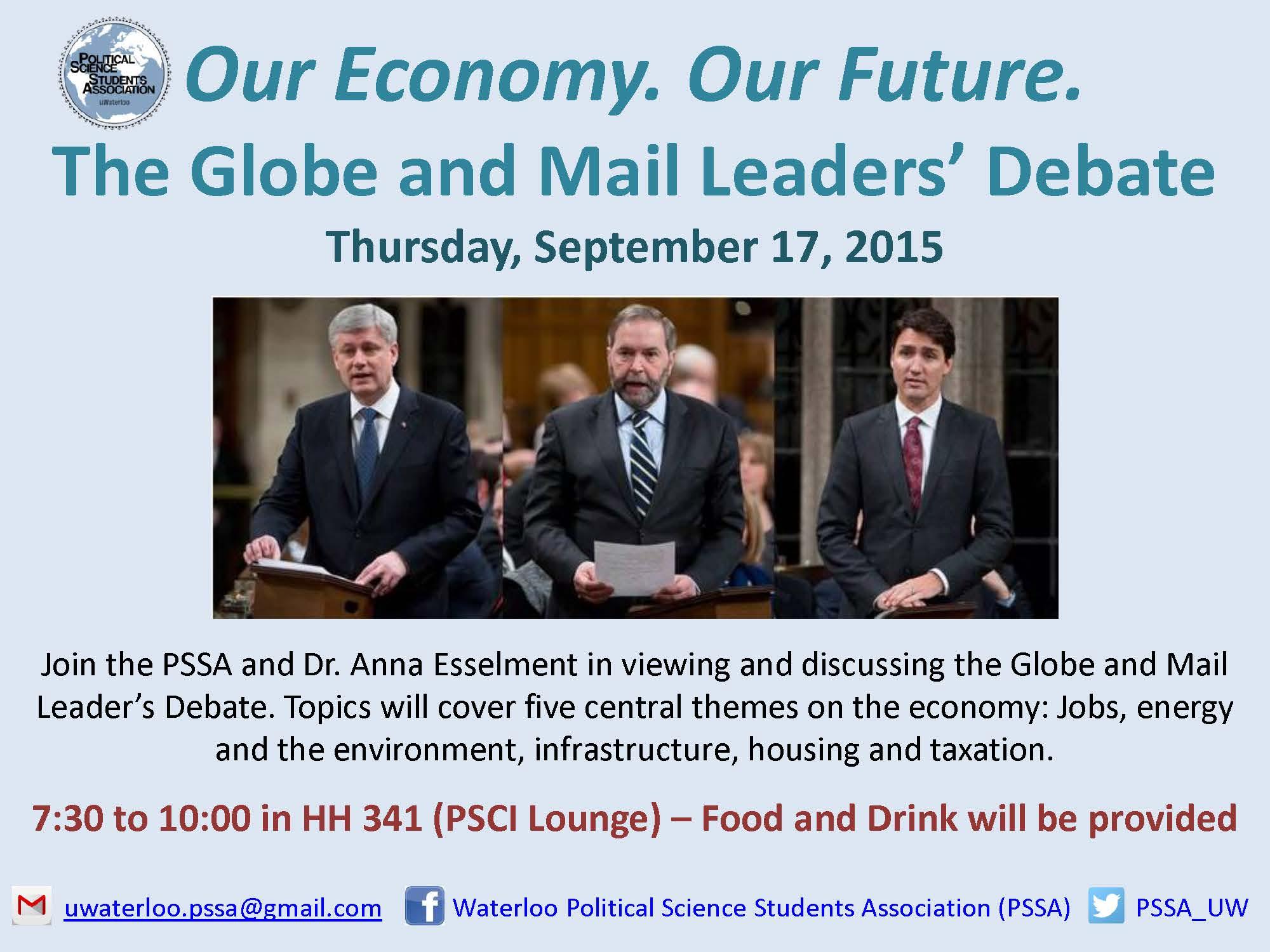 Political Science Student Association | Globe & Mail Leaders Debate
