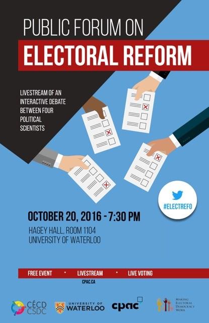 Public forum on Electoral Reform flyer.