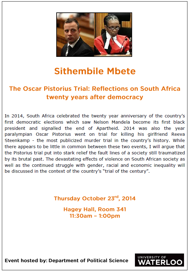 Speaker Series poster: Sithembile Mbete