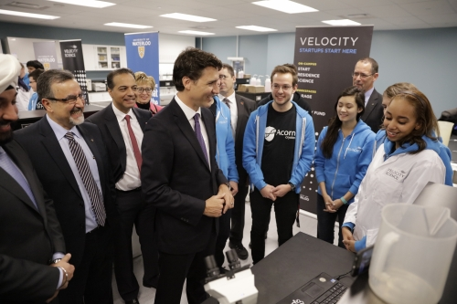 PM Trudeau and Feridun Hamdullahpur on Velocity building tour