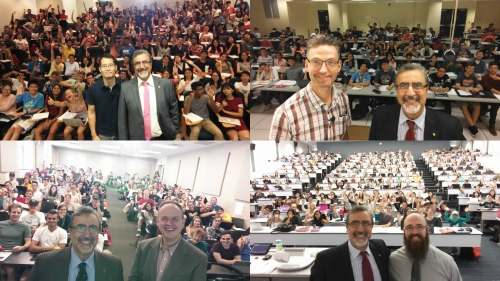 Collage of 4 selfies featuring President Feridun Hamdullahpur and classrooms of students.