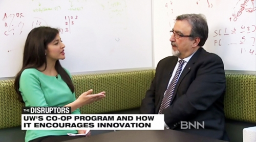 President Hamdullahpur sitting down at an interview with The Disruptors co-host