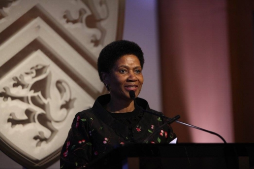 UN Under-Secretary Phumzile Mlambo Ngcuka at the podium