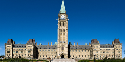 Canadian Parliament buildings showing the Peace Tower