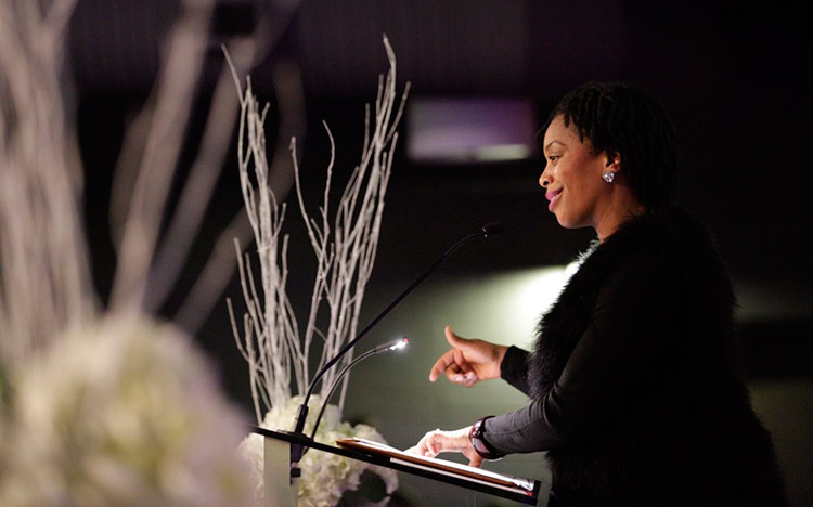 Naila Keleta-Mae speaks at the International Women's Day Dinner