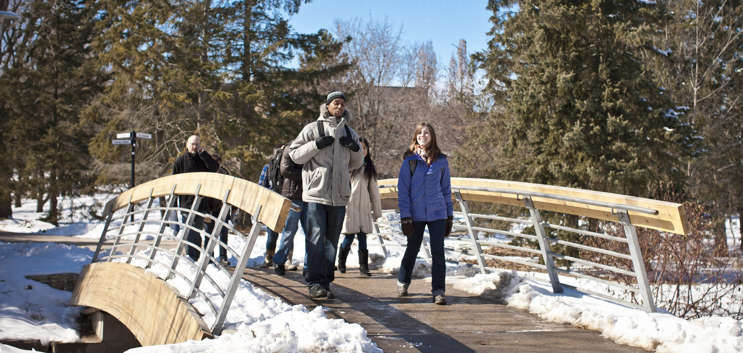students walking in winter term