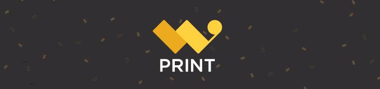 W Print logo on black background