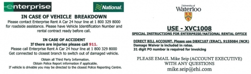 Car Rental Information Card