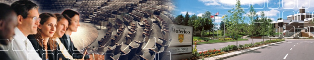 collage of people, the Modern Languages theatre, and the entrance the the University of Waterloo campus