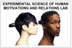 side head shots of caucasian female and black male wearing experimental headgear