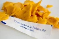 a pile of broken fortune cookies