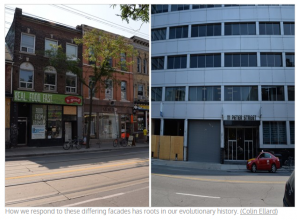 Side by side pictures of city street scape, modern and old