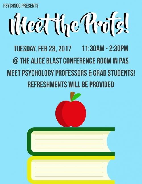 Poster for Meet the Profs Event. Image of two books with an apple sitting on top.