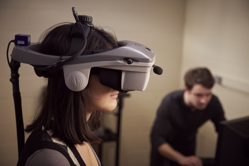 participant set up head gear for virtual reality images