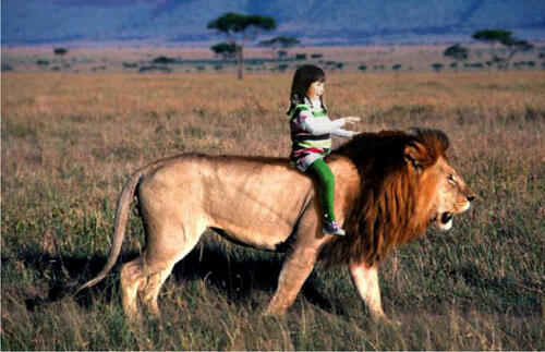 Lion and child