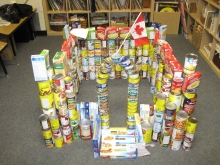 castle created from canned food
