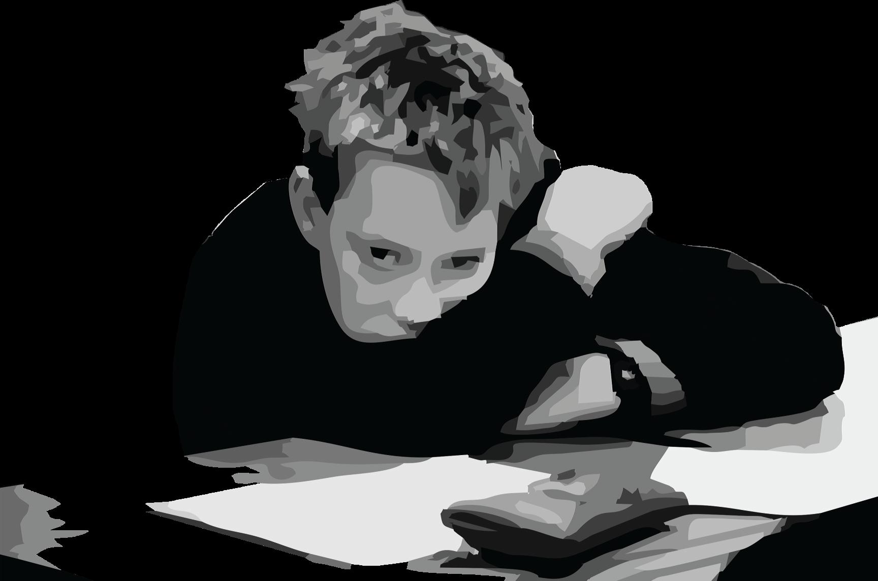 sitting boy bored with school work