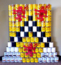 Cans stacked up to resemble UWaterloo logo