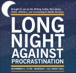 Flyer with information about-Long Night Against Procrastination