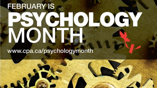 February is Psychology Month, www.cpa/psychologymonth, shows cogs and the Psych sympbol and Canadian flag