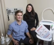 Lana and Andrew in a hospital
