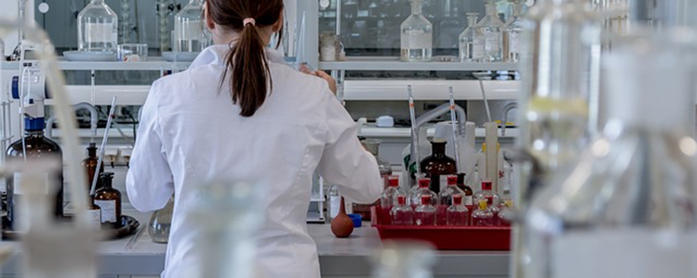 Scientist, with her back to us, working in lab