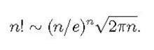 n!~(n/e)^n√2πn