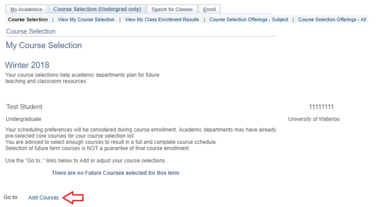 my course selection displayed with arrow pointing to add courses link