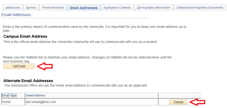campus email address page with arrow pointing to WATIAM button and delete button of alternate email addresses