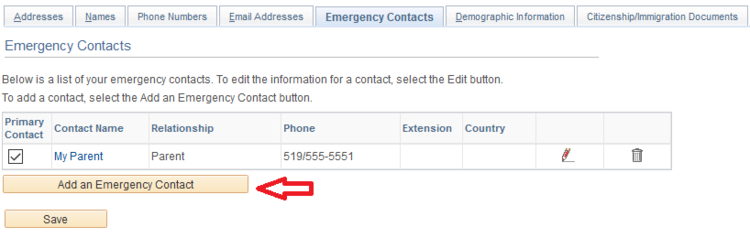 inside emergency contacts tab with arrow pointing to add an emergency contact button