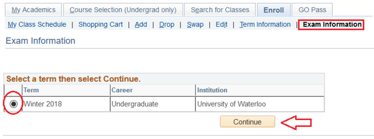 Exam information term select page in student Quest