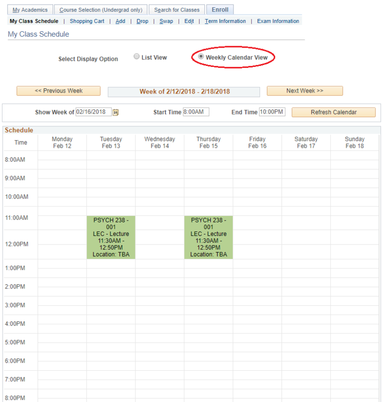 Calendar view of class schedule in studnet Quest
