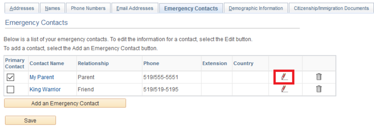 emergency contacts page with edit icon highlighted