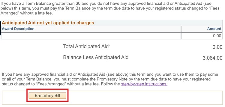 Sample tuition and fee page with Email button highlighted
