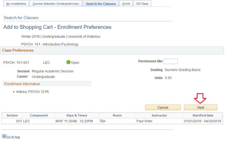 Enrollment preferences page in student Quest