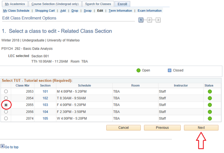 Select a class to edit page in student Quest