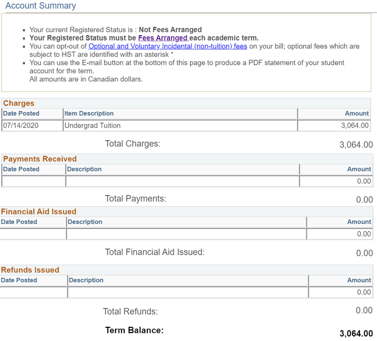 Sample term tuition and fee summary page