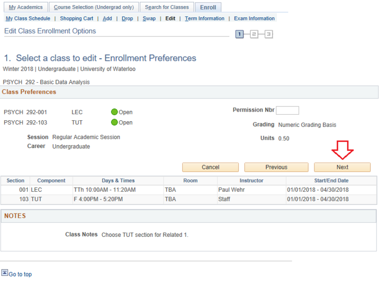 Enrollment preferences for swapping components page in student Qeust