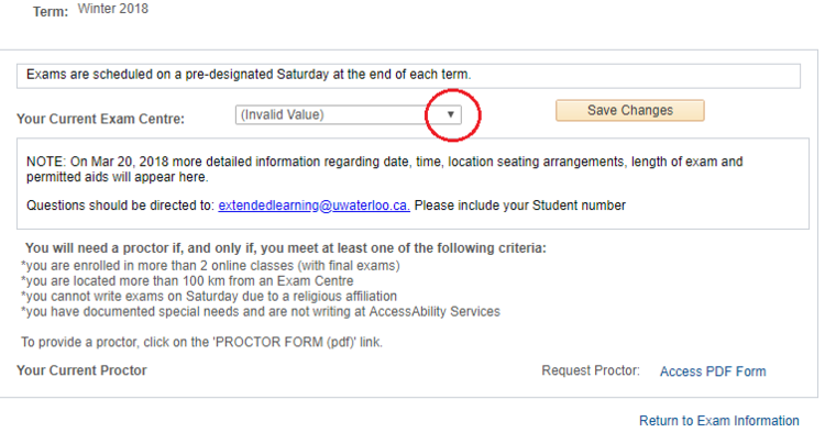 Exam centre location selctor page in student Quest