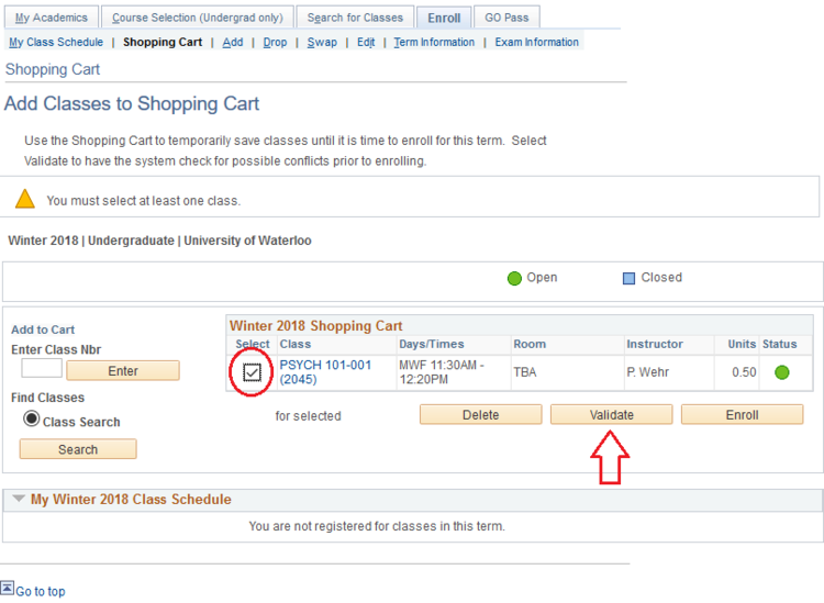 Add classes to shopping cart page in student Quest