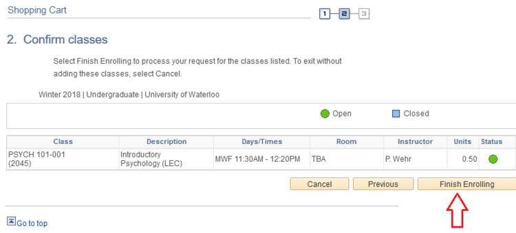 Confirm class, finish enrolling page in student Quest